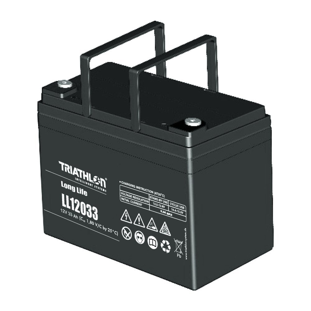 Triathlon Long Life AGM Batterie 12Volt 33AH wartungsfreie verschlossene VLRA Batterie (Valve Regulated Lead Acid)