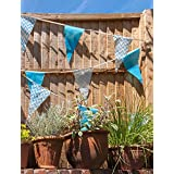 Baby Blue Stripe Bunting Banner Flags for Boy Baby Shower Party (C1012)