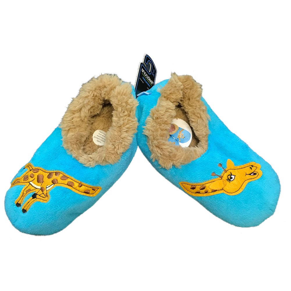 Snoozies Womens Classic Splitz Applique Non Skid Slipper Socks - Giraffe, Large