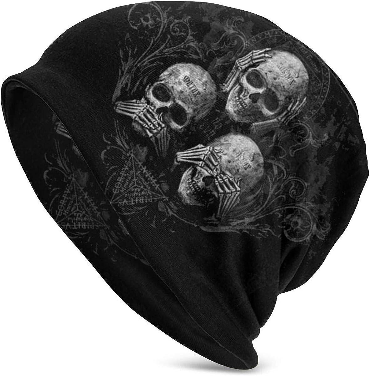 Horror Beanie Adult skull cap Crochet Skull Hat Skull Themed hat Skulls and Roses Halloween Hat gift for him,