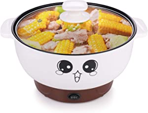 MINGPINHUIUS 4-in-1 Multifunction Electric Cooker Skillet Wok Electric Hot Pot For Cook Rice Fried Noodles Stew Soup Steamed Fish Boiled Egg Small Non-stick with Lid (2.3L, without Steamer)