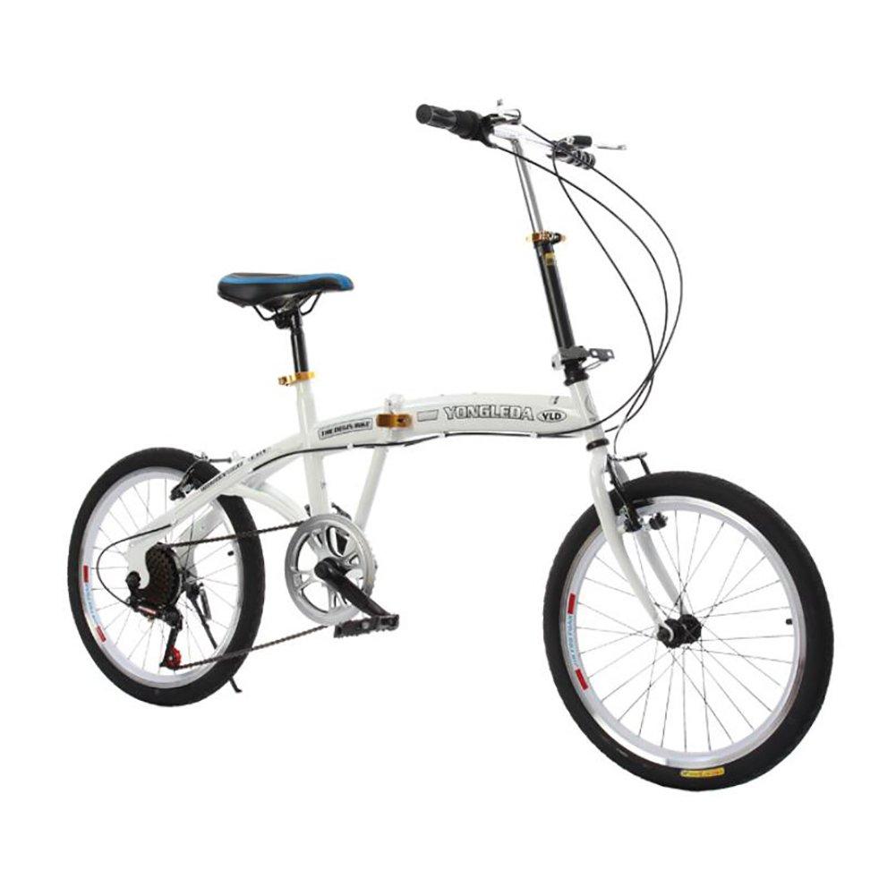 学生折りたたみ自転車, 子供用折りたたみ自転車 折りたたみ車 シマノ 6 速 男女 大人 折りたたみ自転車 折りたたみ自転車 B07DKBF343白 20inch