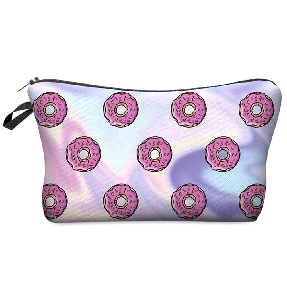 Doitsa Bag Makeup Organizer Multifunctional Travel Toiletry Kit Portable Storage Bag Stylish Exquisite Printing Doughnut Sparkle Purple Pencil Case Coin Purse for Woman Gift