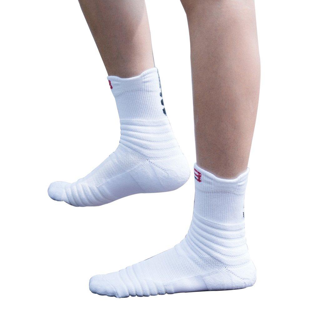 Pelisy Compression Socks Mens Athletic Crew Socks 6 Packs For Basketball /& Running Black