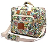 Malirona Women's Canvas Overnight Weekender Bag Carry On Travel Duffel Tote Bag Bohemian Flower (Green Flower)