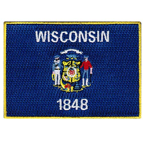 Wisconsin State Flag Embroidered Patch Iron-On WI Emblem Blue