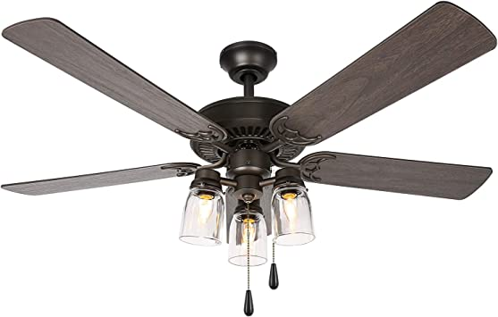 52 Inch Indoor Oiled Bronze Ceiling Fan with Light Kit, Industrial Pull Chain Ceiling Fan with Lighting, Reversible Motor and Blades, UL Listed for Living room, Bedroom, Basement, Kitchen
