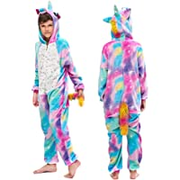 MMTX Bambino Tutina di Unicorno Pigiama, Flanella Animale Costume Halloween Cosplay Pigiami da Notte Felpa con Cappuccio…