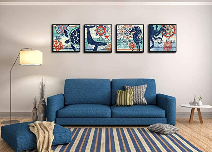 Amazon.com: Thin Black Photo Framed 4 Panel Teal Blue Home ...