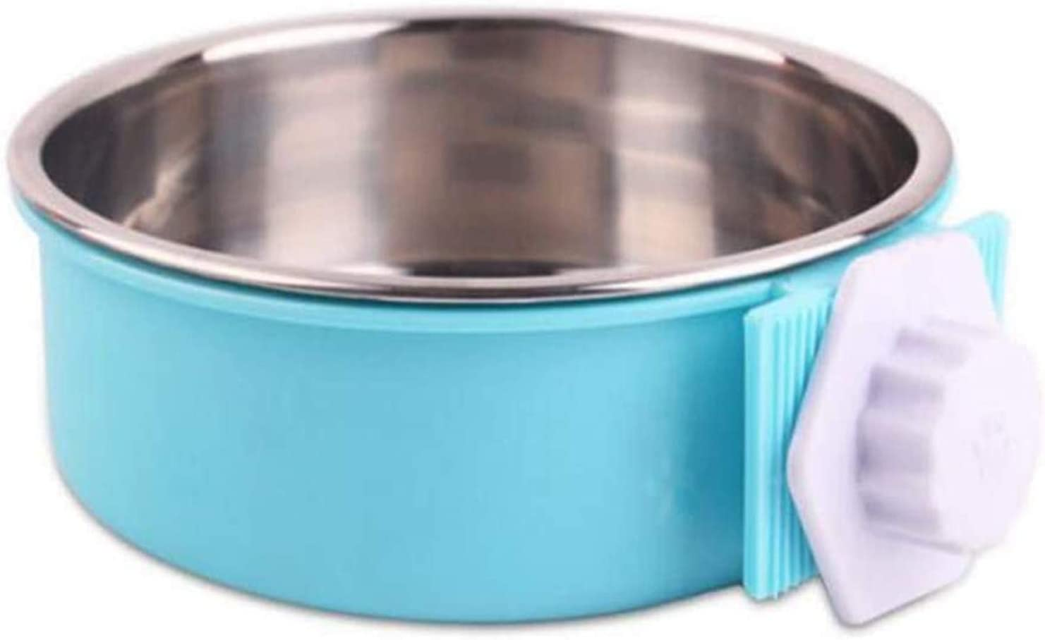 Legu Crate Dog Bowl Stainless Steel Cage Pet Water Hanging Food Bowls for Small Medium Sized Dogs Cat Birds (Blue, Large)