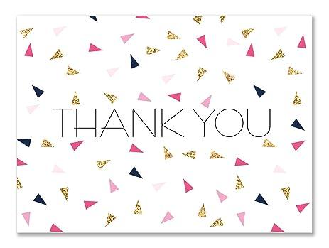 amazon com colorful triangle confetti thank you cards 30 blank