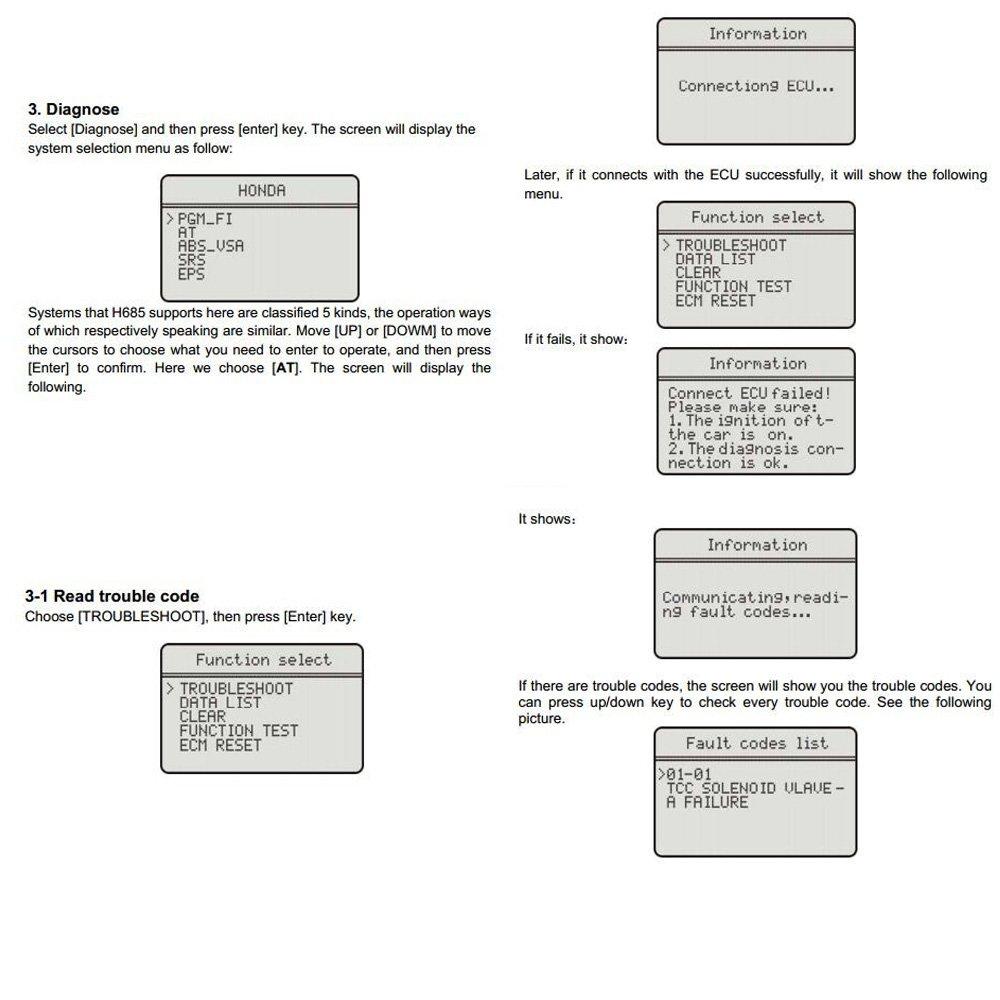AUTOS-FAMILY Memoscan H685 For HONDA/ACURA OBD2 EOBD Car