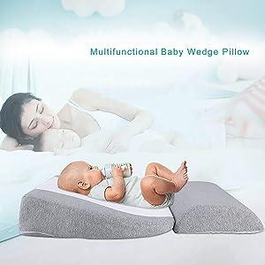 Newzealkids Baby Wedge Pillow, Infant Sleep Wedge for Crib, Anti Reflux Pillow Baby Wedge Pillow for Acid Reflux, Universal Bassinet Wedge,15-Degree Incline Makes Baby Better(Grey)