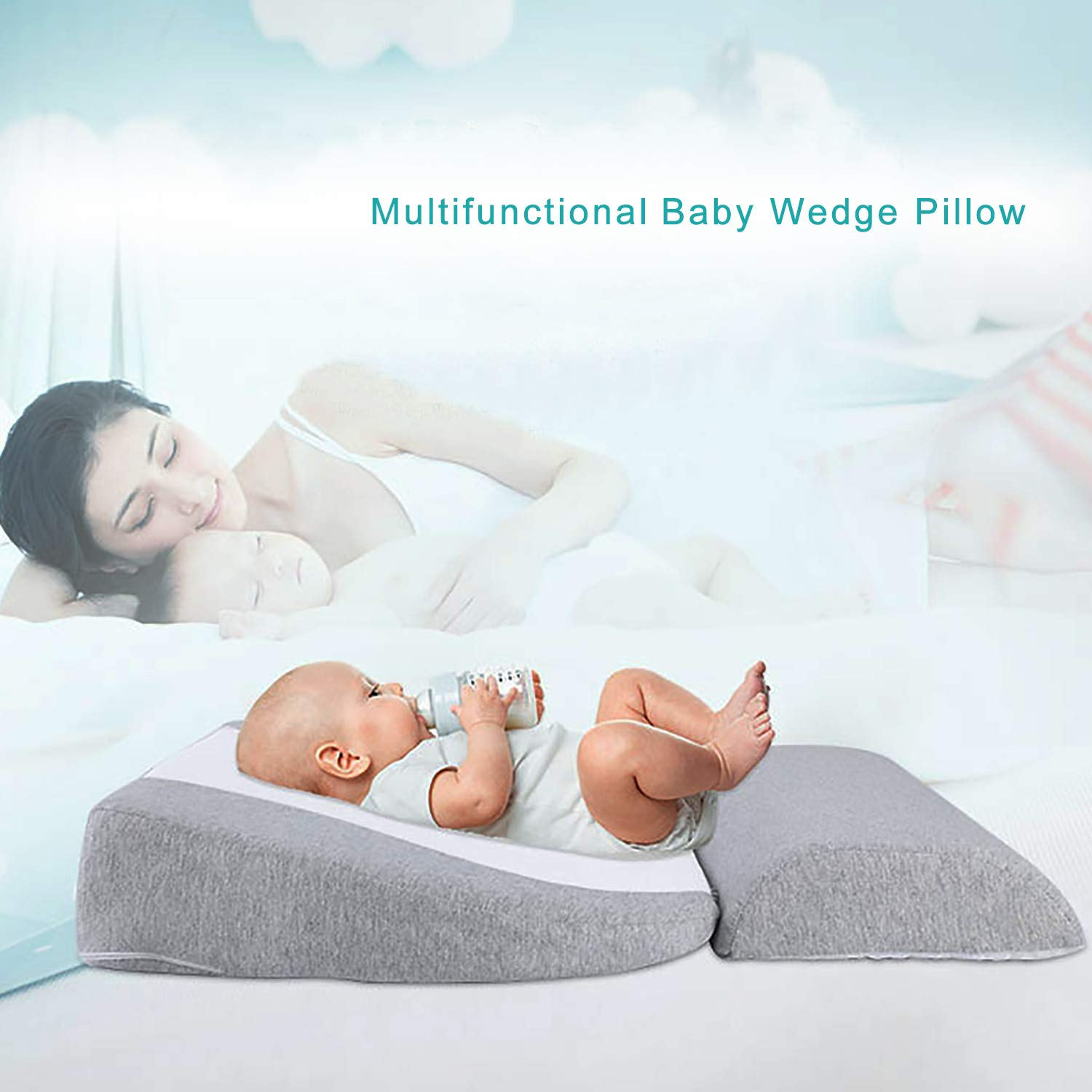 Amazon Com Newzealkids Baby Wedge Pillow Infant Sleep Wedge For Crib Anti Reflux Pillow Baby Wedge Pillow For Acid Reflux Universal Bassinet Wedge 15 Degree Incline Makes Baby Sleep Better Grey Home Kitchen