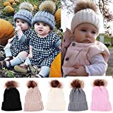 Gbell Newborn Baby Infant Winter Knitted Hats Pom Pom, Kids Beanies Hats with Pompom Ball Cute Hemming Caps for Toddler Boys Girls 0-36 Months