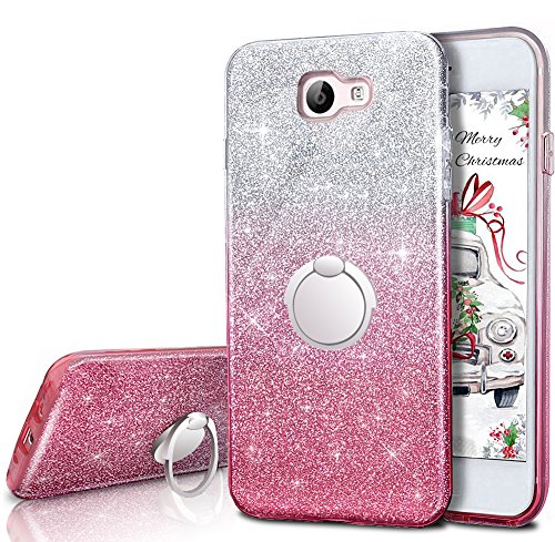 Galaxy J7 Perx Case,Galaxy J7 Prime / J7 V/ J7 Sky Pro/ Halo Case With 360 Rotating Ring Stand, Silverback Girls Cute Bling Glitter Protective Case Cover for Samsung Galaxy j7 2017 -Pink
