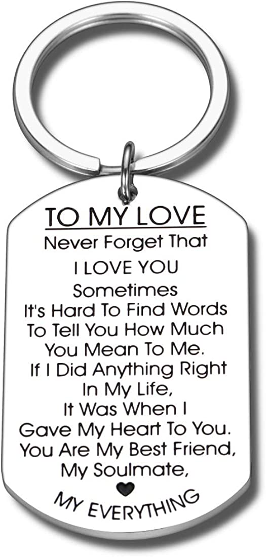 Romantic I Love You Gifts Keychain for Boyfriend Girlfriend Husband Wife Her Him Christmas Anniversary Valentines Day Birthday Wedding Couples Gift for Women Men Love Jewelry Present