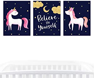 Andaz Press Girls Nursery Kids Room Art Unframed Wall Art Poster Home Decor, 8.5x11-inch, Galaxy Navy Blue Unicorn Believe in Yourself, 3-Pack, No Frames