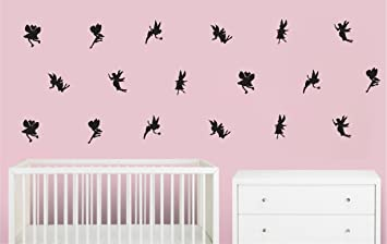 Fairy Wall Decals In Black / 18 Fairy Wall Stickers (Black Fairy Wall Decals )