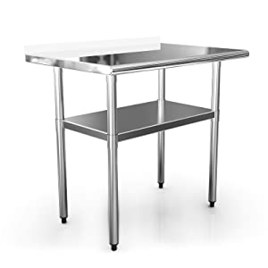 """NSF Work Table Kitchen 36x24 Inches Commercial Prep Table Workbench Industrial Restaurant Supply,Stainless Steel Work Tables for Shop Home Outdoor Worktable Worktops Food Preparation 1 1/2"""" Backsplash"""