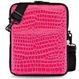 Turtleback Essential Gear for iPad Pro 10.5'' Tablet & Phone Pouch Carry Bag with Removable Shoulder Strap (Croc Pink), Made in USA