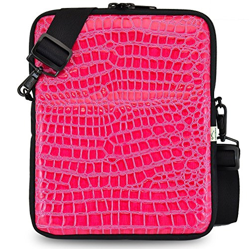 (Tablet Bag with Shoulder Straps | Compatible with iPad, Samsung, Acer and 10.5in Tablets | Fits Mobile Device and Phone | Made in USA | Croc Pink Color )