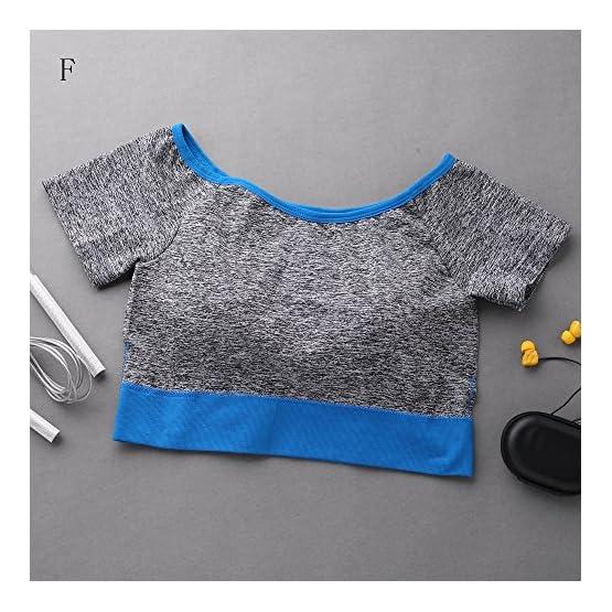 9ca5281029189d Challyhope Women Quick Drying Sports Yoga Padded Bra Short Sleeve ...