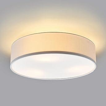 Runde 3 Lichter LED Deckenleuchte Gelb Tuch Schatten 3x40w Licht 2850 LM 3000 Kelvin Wohnzimmer
