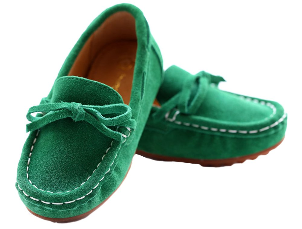 VECJUNIA Girls Soft Suede Bow Dress Loafers Indoor Slippers Oxford Moccasins Green 13 M US Little Kid by VECJUNIA (Image #5)