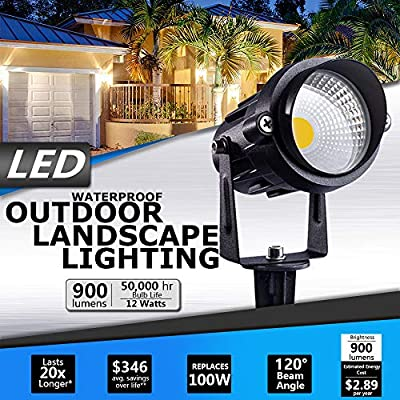 SUNVIE 12W Outdoor LED Spotlight Landscape Lighting Waterproof AC 120V Garden Light for Tree Pathway Yard Driveway Lawn Flag Lights 4.9FT Corded Electric with Plug