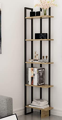 Decorotika Alice 5-Shelf Vintage Industrial Corner Bookshelf