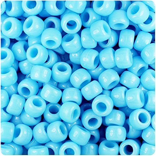 BeadTin Baby Blue Opaque 9mm Barrel Pony Beads (500pcs) ()