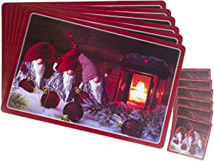 Macoku Christmas Placemats Set of 6 Xmas Gifts Table Mats Non-Slip Winter Santa Claus Deer Snowflakes Placemat Heat Resistant Place Mats for Kitchen Dining Party Decorations 11