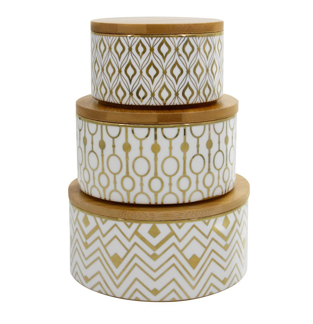 Decorative Containers Canister Set 3, Porcelain Geometric Storage Jars with Bamboo Lids, Thanksgiving Gift LA JOLIE MUSE