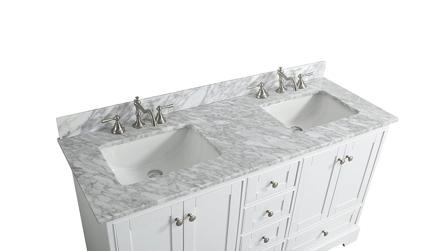 UrbanFurnishing.net – Jocelyn 60-Inch 60 Bathroom Sink Vanity Set with White Italian Carrara Marble Top – White