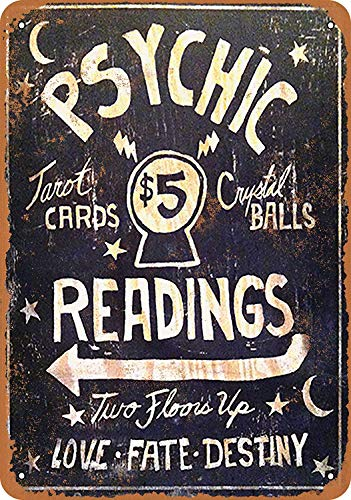 FDerks Decoration 12 X 16 Inches Vintage Tin Sign Psychic Readings $5 Tarot Cards Crystal Balls