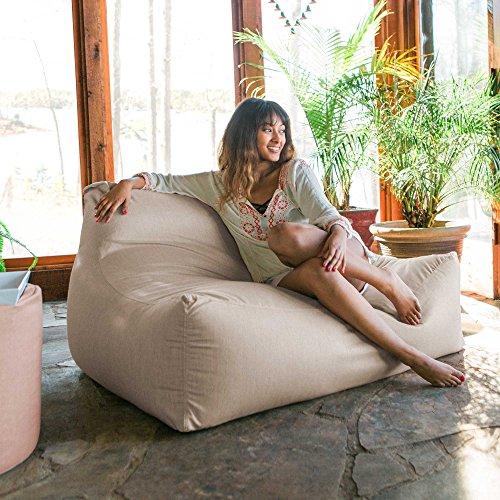 Jaxx Lavista Outdoor Bean Bag Loveseat/Modern Patio Sofa, Sunbrella, Flax