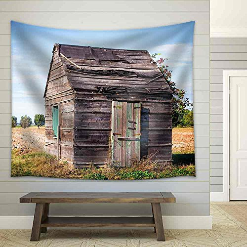 Old Hut at a Field Fabric Wall Tapestry