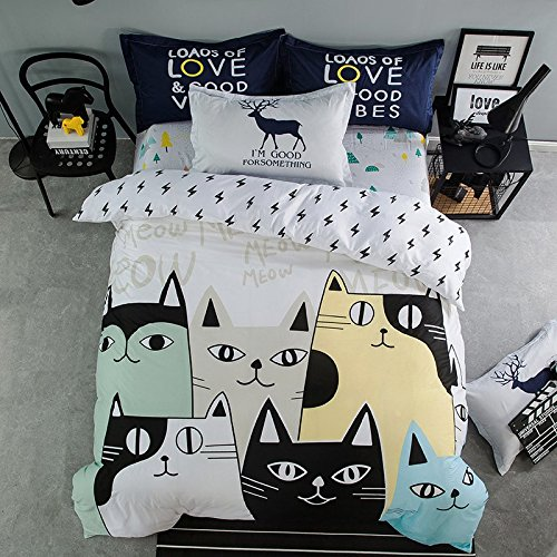 Cliab Cat Bedding Set Queen Size Black