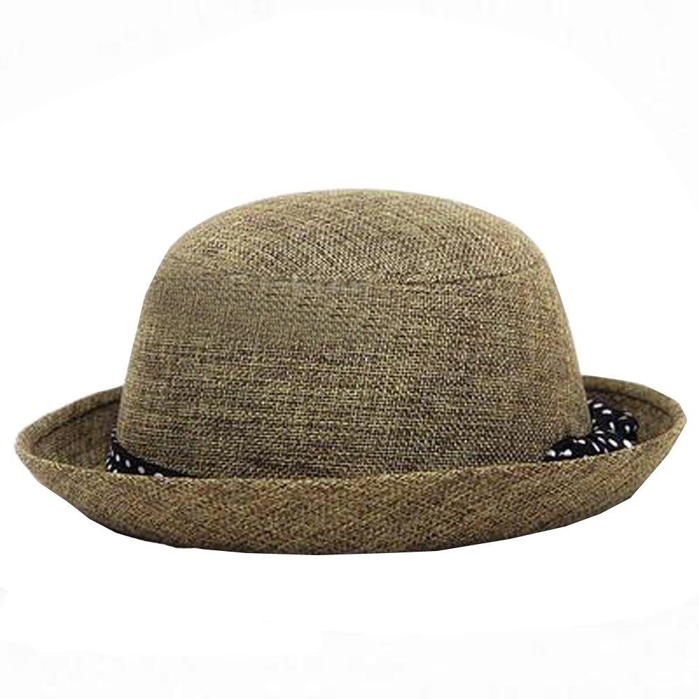 Womens Fedora Hats Bowknot Summer Straw Hat Roll Brim Bowler Derby Hat (Flax yellow)