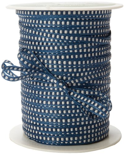 May Ribbon Arts (May Arts 1/8-Inch Wide Ribbon, Navy with White Stitched Center)