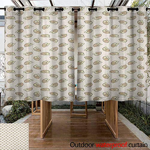 AndyTours Thermal Insulated Blackout Curtains,Waffle,Delicious Breakfast Food with Creamy Sweet Topping Dessert Cooking Illustration,for Patio/Front Porch,K160C183 Tan and Cream