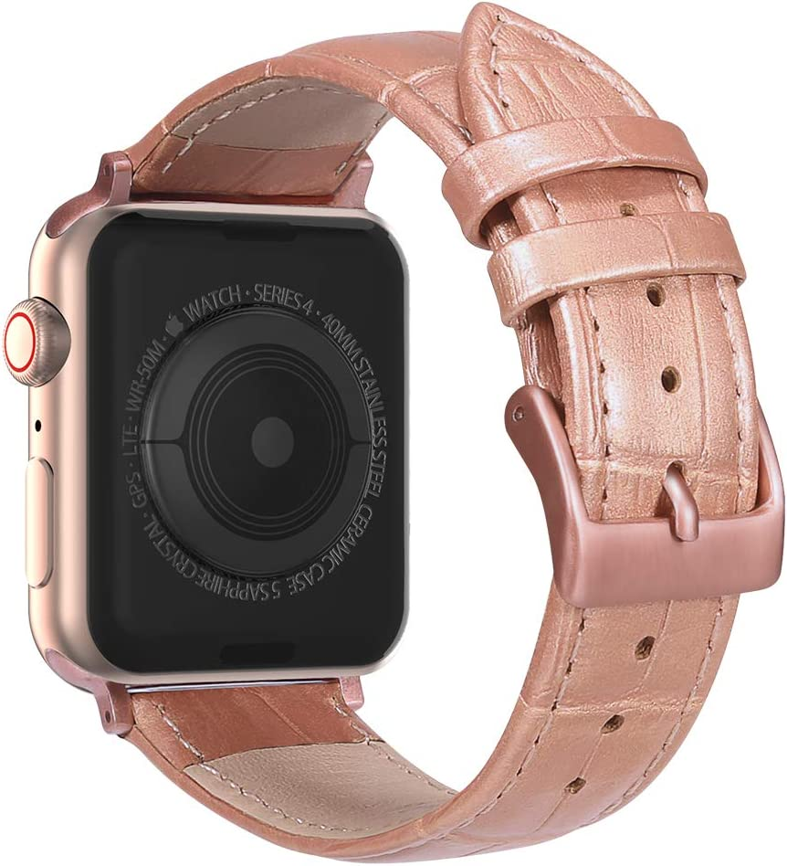 MARGE PLUS Compatible with Apple Watch Band 44mm 42mm with Case, Alligator Grain Calf Genuine Leather Strap Replacement for iWatch Series 5/4/3/2/1 Sport and Edition, Rose Gold
