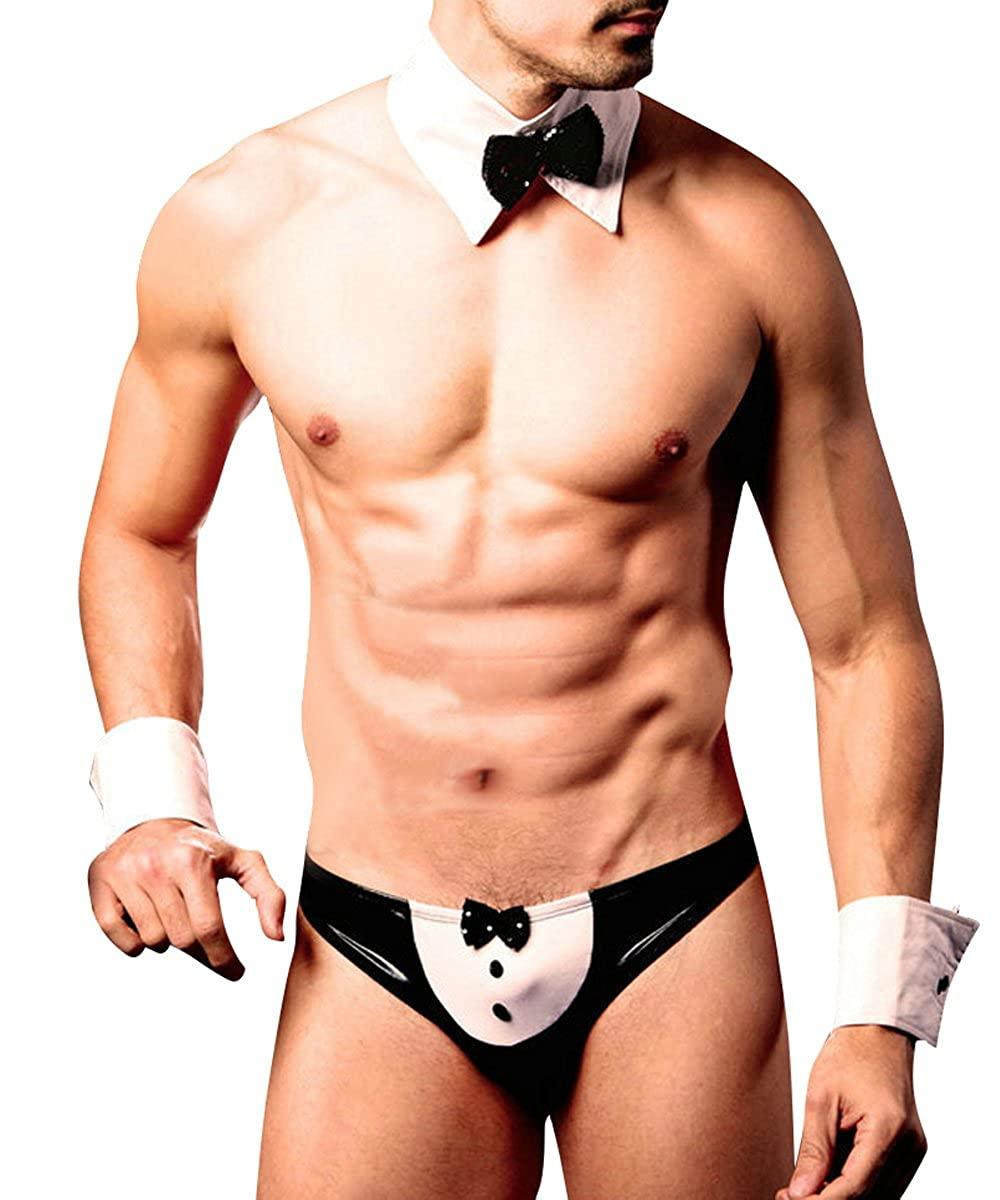 Spicyman Mens Naughty Tuxedo Costume Outfit Lingerie Set (3 Pieces)