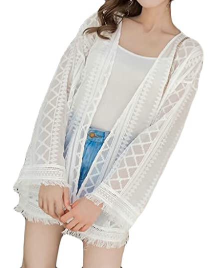 ba50004af192f KLJR-Women Sheer Chiffon Boho Kimono Cardigan Beach Cover up Loose Tops  Outwear one One Size at Amazon Women's Clothing store:
