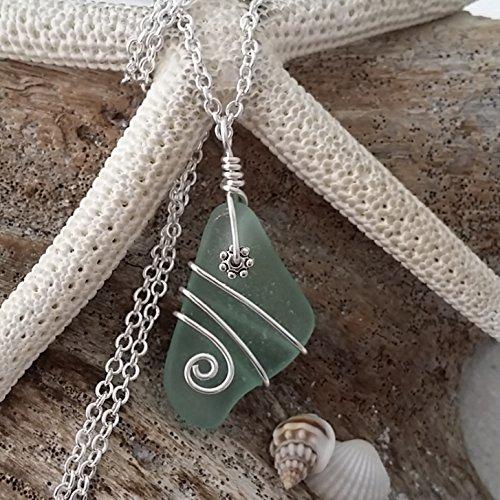 "Genuine surf tumbled sea glass, rare wire wrapped aqua beach glass sea glass necklace, ""March Birthstone"", sterling silver chain, ,sea glass jewelry."