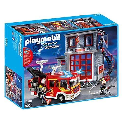 (Playmobil 9052 - Mega Fire Rescue Set - Fire Engine with Lights and Sound + Fire Rescue Station)