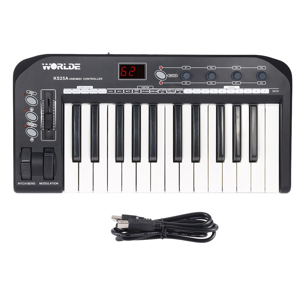 ammoon KS25A Portable 25-key USB MIDI Keyboard Controller with USB Cable