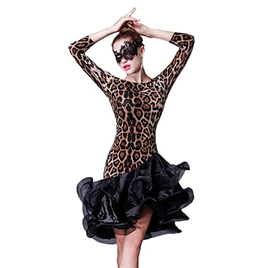 Yc Well Latin Dance Dress Leopard Women Salsa Rumba Cha Cha Samba