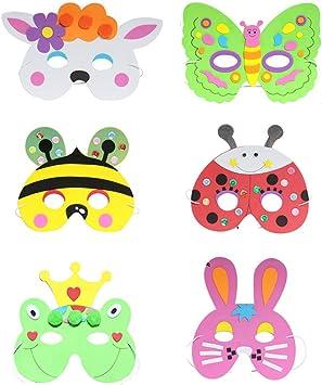 TOYANDONA - 6 máscaras de goma EVA con diseño de conejo, rana ...